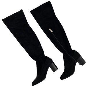 ZARA Faux Suede Zip Up Knee High Chunky Heel Boots